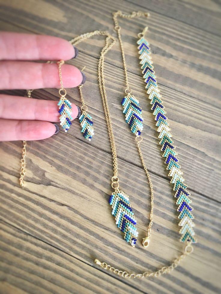 """Photo of Items similar to Beaded  bracelet """"Turquoise-golden zigzag"""" Turquoise-blue-gold beaded bracelet Beadcraft Handmade bracelet Delicate beaded bracelet on Etsy"""
