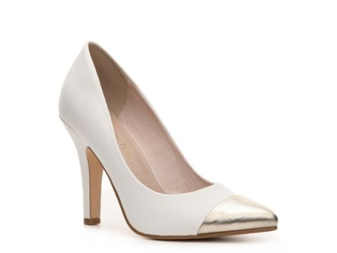 Obsessed with these white and gold cap toe heels! $49.95
