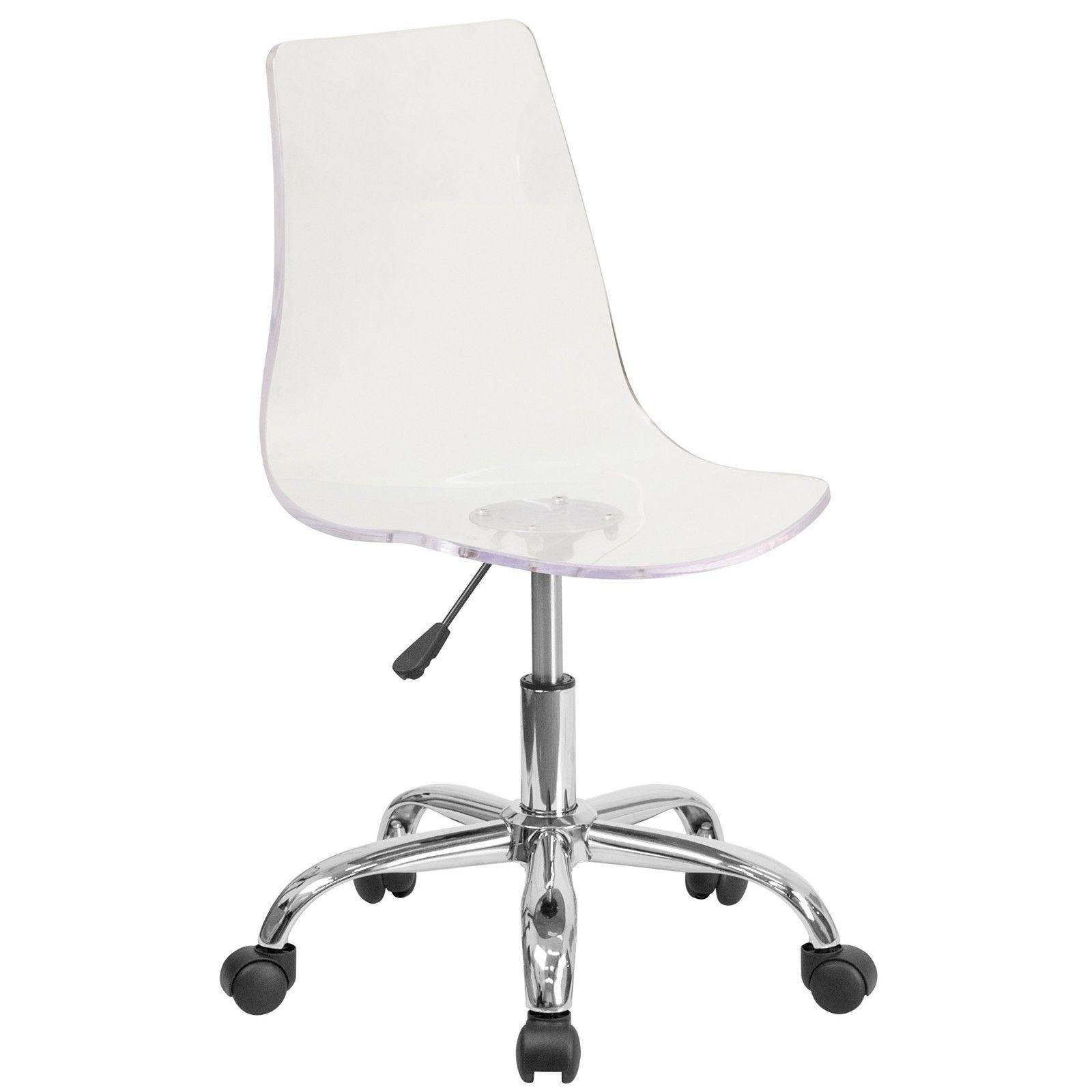 Adjustable Clear Office Chair Task Seat Modern Rolling Desk Garage