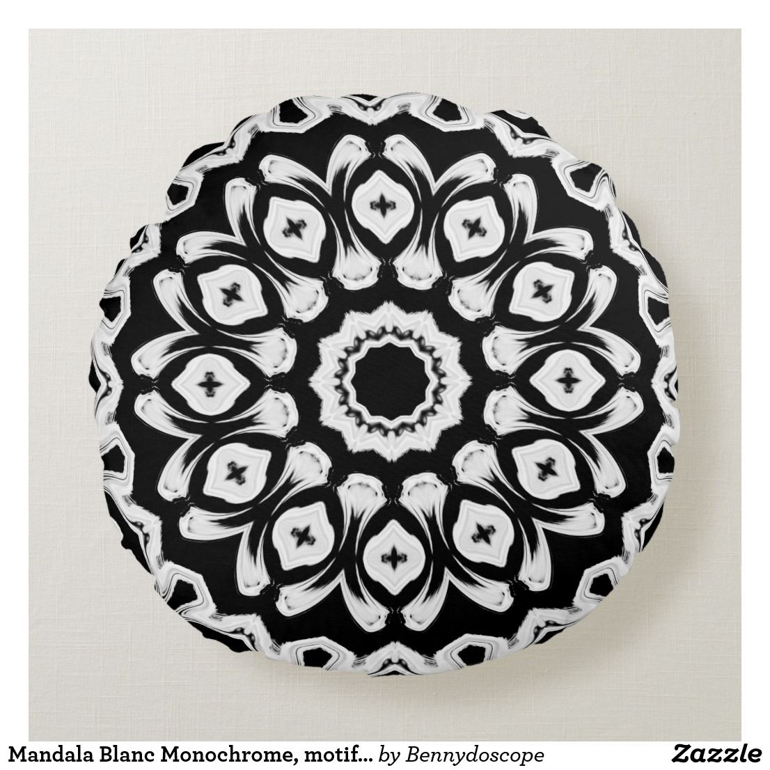Monochromic White Mandala, reason 3 Round Pillow | Zazzle.com