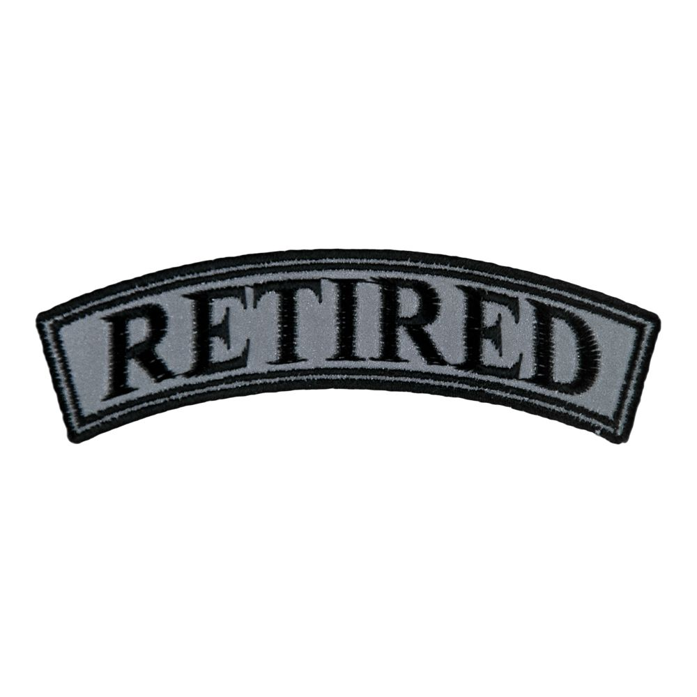 Retired Reflective Top Rocker Patch Motorcycle Rocker Patches
