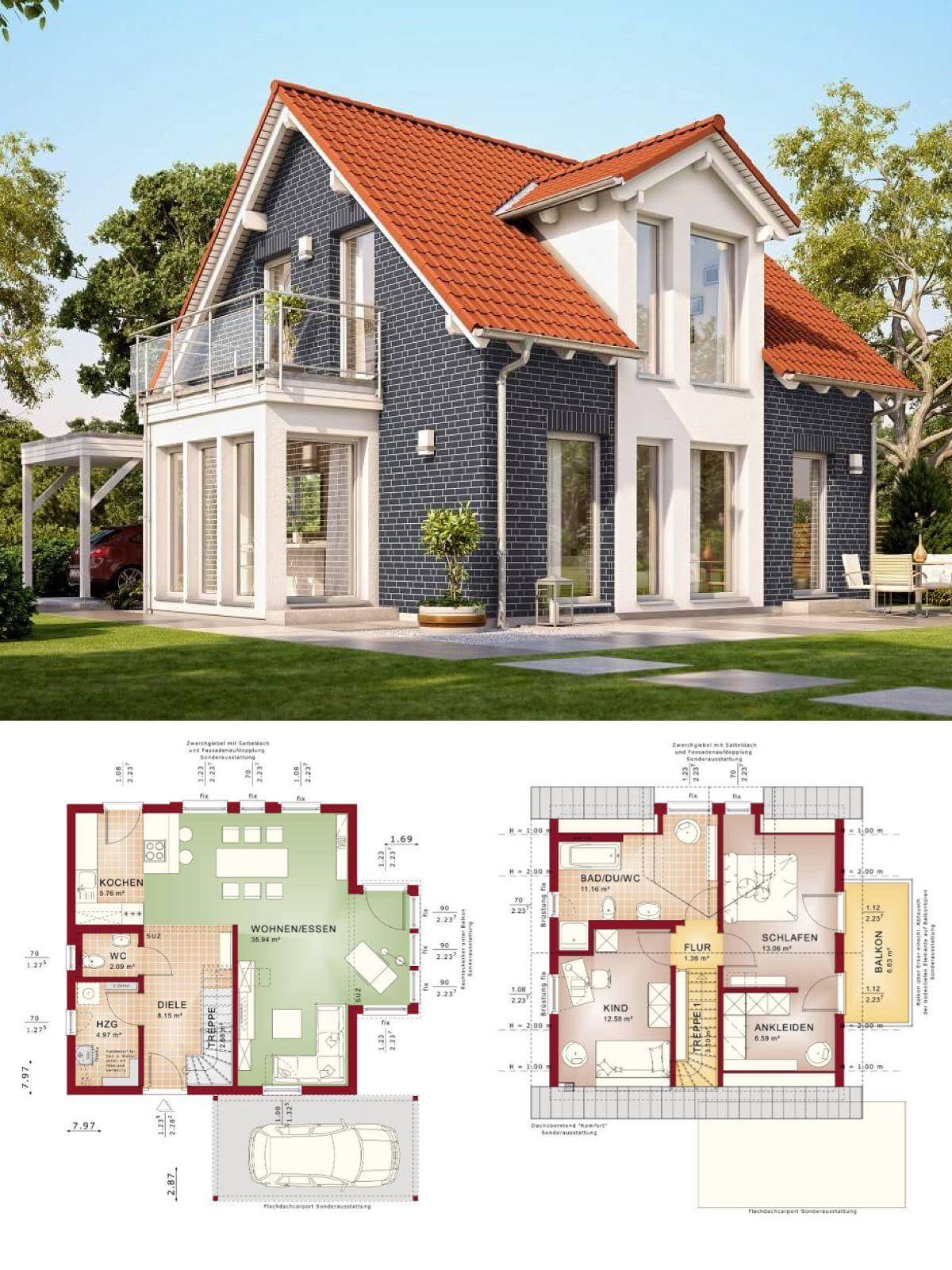 Einfamilienhaus mit Klinker Fassade und Satteldach