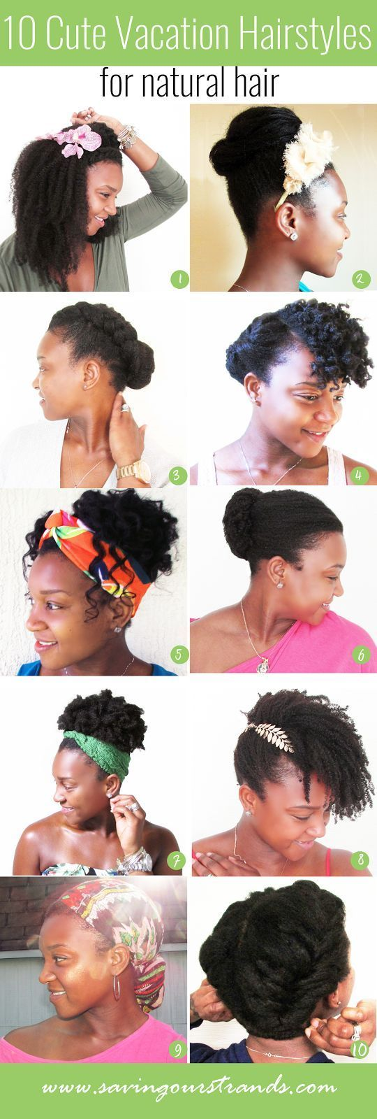 10 Cute Vacation Hairstyles For Natural Hair on www.savingourstrands.com in 2020 | Natural hair ...