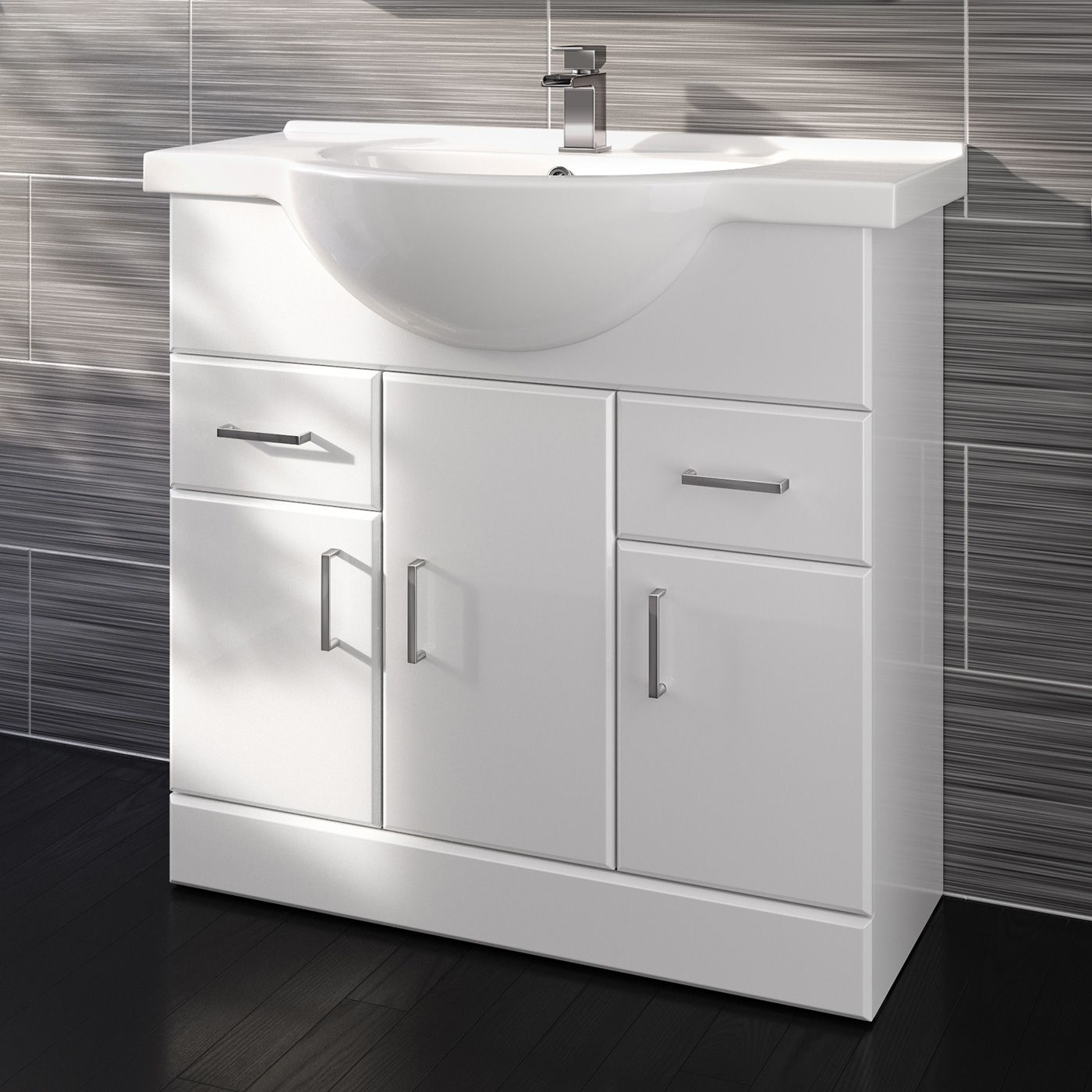 Quartz Gloss White 850mm Built-In Floor Standing Basin Storage Unit ...