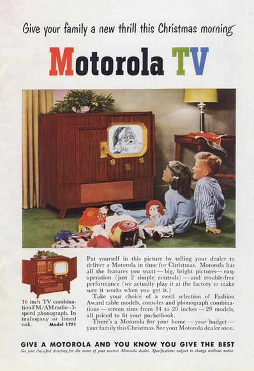 Motorola was originally a company that made radios for cars. In 1950 they played a role in the nationwide growth of television. There were 3 million homes with TV sets in 1950 and by the end of the decade over 90 percent of homes had a television set in use.