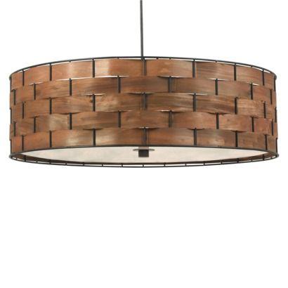 Kenroy Home Dark Woven Wood Finish Shaker 3 Light Pendant – Target Chandelier Lamp