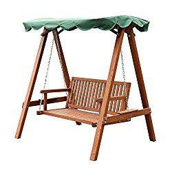 tangkula outdoor patio swing wooden loveseat hammock canopy garden rh pinterest com