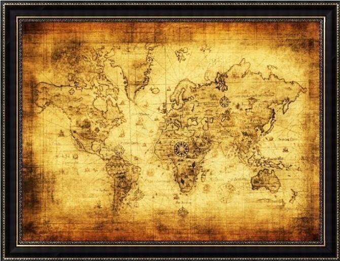 Helt Ny Världskarta I Retrostil Antik Vintage Worldmap Poster - Large vintage world map poster