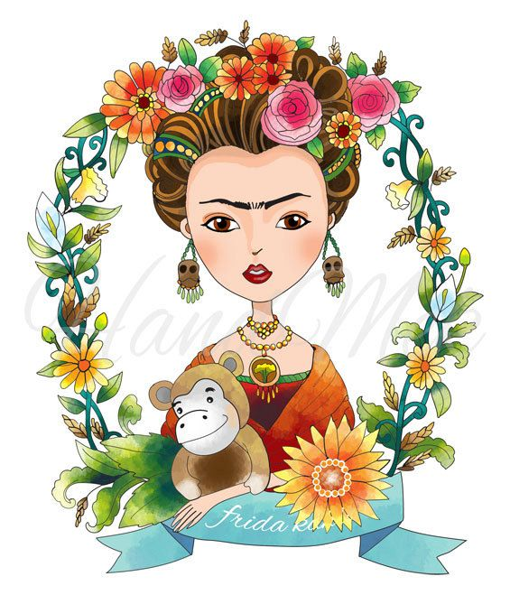 Special Custom Design Frida Kahlo Clipart Instant Download Png Jpeg File 300 Dpi Frida Kahlo Cartoon Frida Kahlo Art Frida Kahlo
