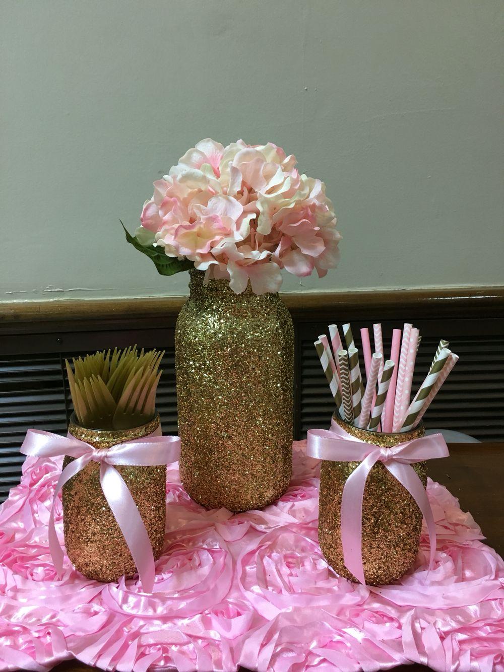 Gold glitter mason jars pink pearls baby