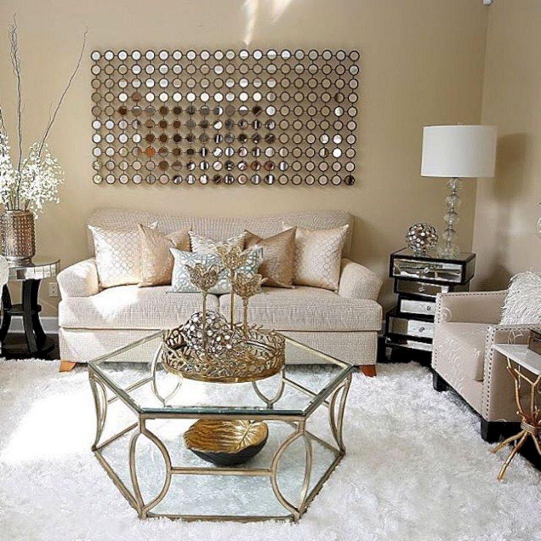 55 Chic Living Room Decorating Design Ideas For Great Family Freshouz Com Gold Living Room Gold Living Room Decor Glam Living Room