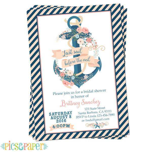 Bridal Shower Invitation Last Sail Before the Veil Navy Pink