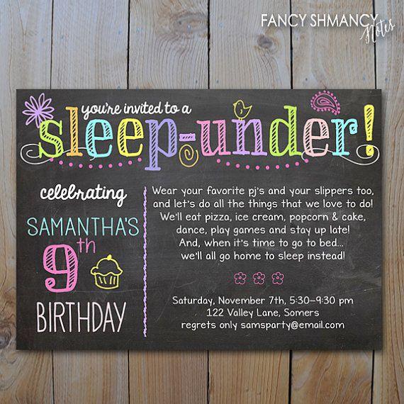 Sleep Under Invitation Neon Colors   Sleepover Neon Chalkboard - fresh birthday invitation jokes