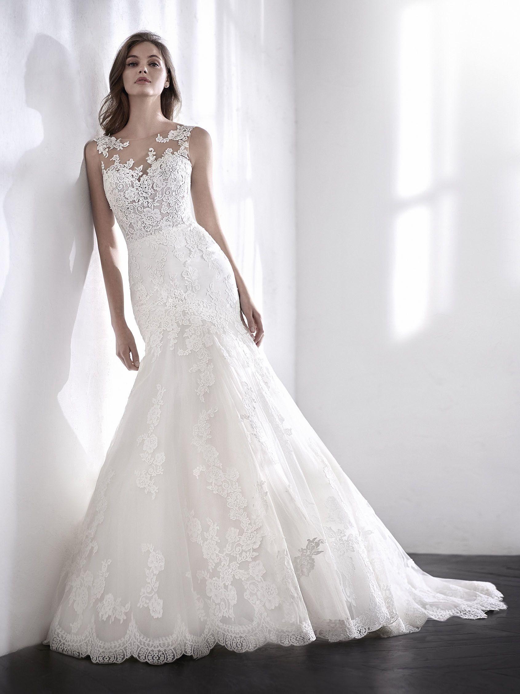 Bezauberndes Brautkleid im Meerjungfrau-Stil aus Tüll und Spitze