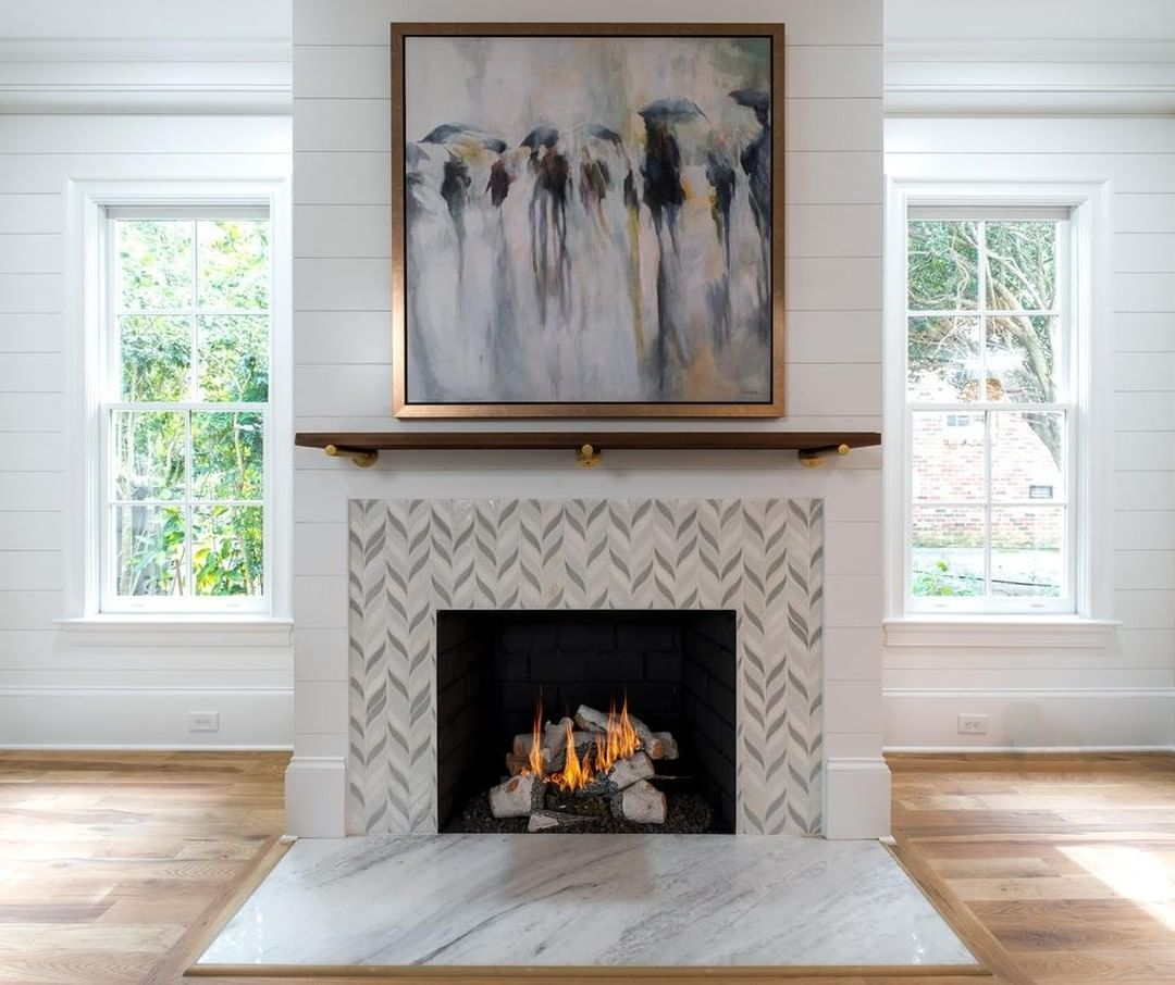 Fireplace Weather Will Be Here Before We Know It Shiplap Benjaminmoore White Dove Tile Soho Studio Baro Gas Fireplace Fireplace Fireplace Design