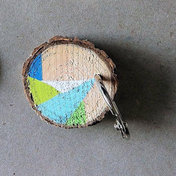 Wooden Log Painted Key Chain-Geometric Pattern