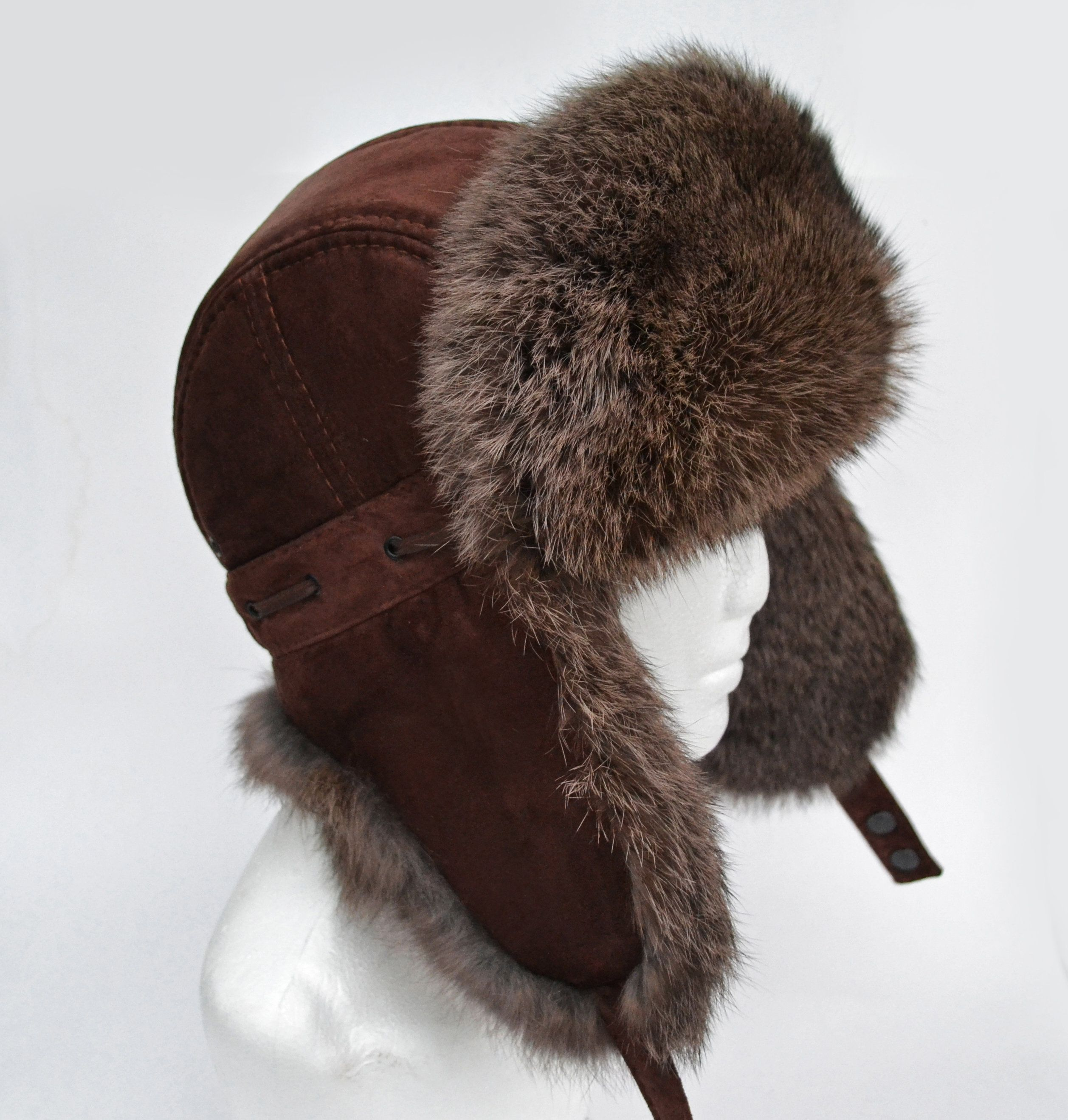 By Order Real Suede Leather Ear Flap Hat Men Real Fur Hat Etsy Ear Flap Hats Fur Hat Hats For Men