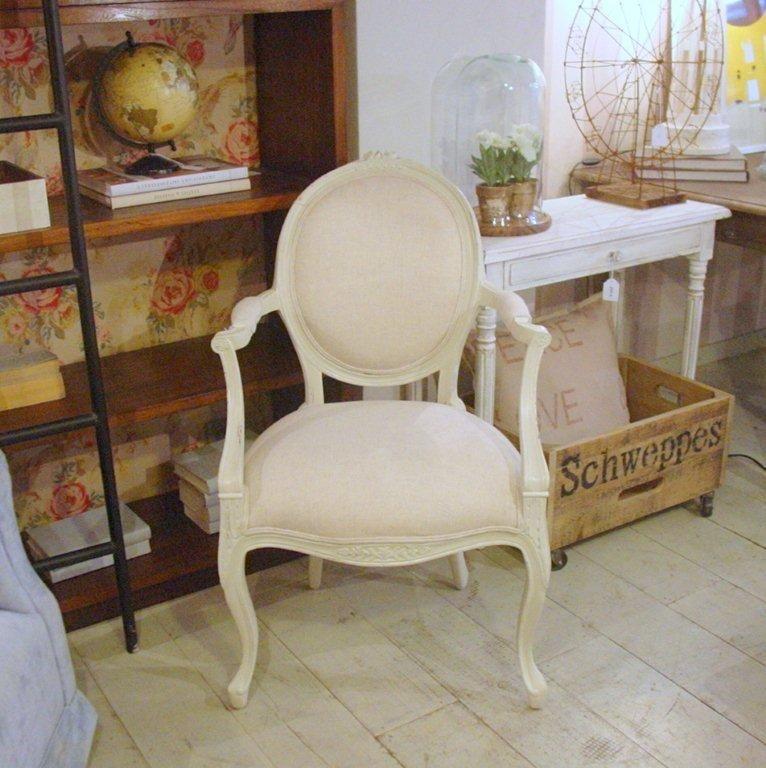 silla francesa con brazos tapizada  Sillas  Sillas