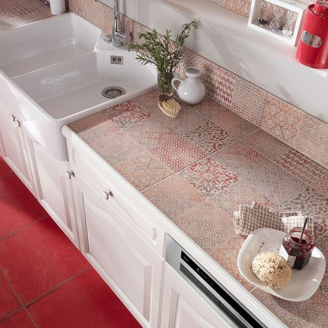 Carrelage sol et mur rouge Décor Antico 45 x 45 cm - CASTORAMA - recouvrir carrelage mural cuisine