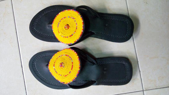 9464f78dafd84 Yellow sandals/ masai sandals/ beaded sandals | Products | Beaded ...