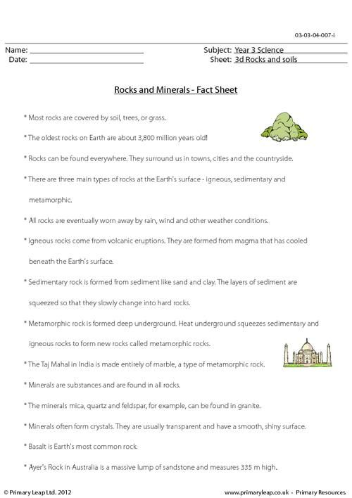 This is a fact sheet about rocks and minerals it can be for Soil facts ks2