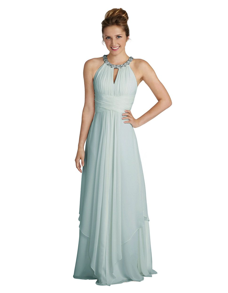Donna Morgan Bridesmaid Dresses Siena Halter Keyhole Chiffon Dress