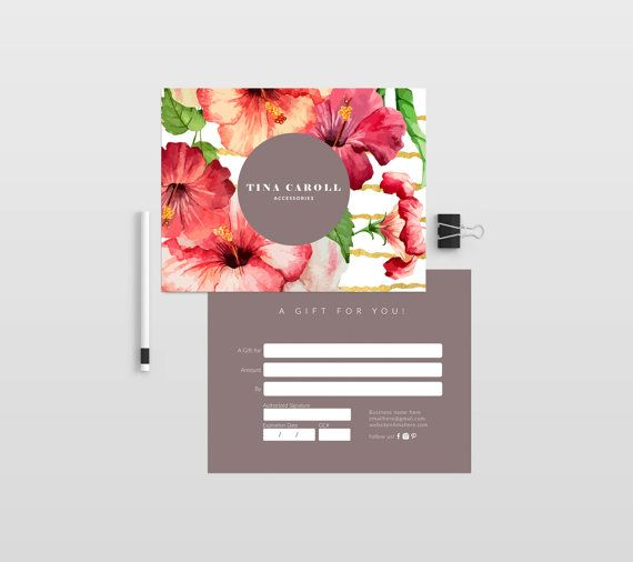 Tina double sided gift certificate template - Instant download - download gift certificate template