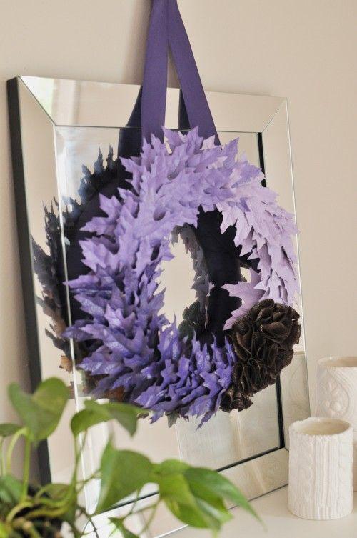 Easy spray painted leaf wreath