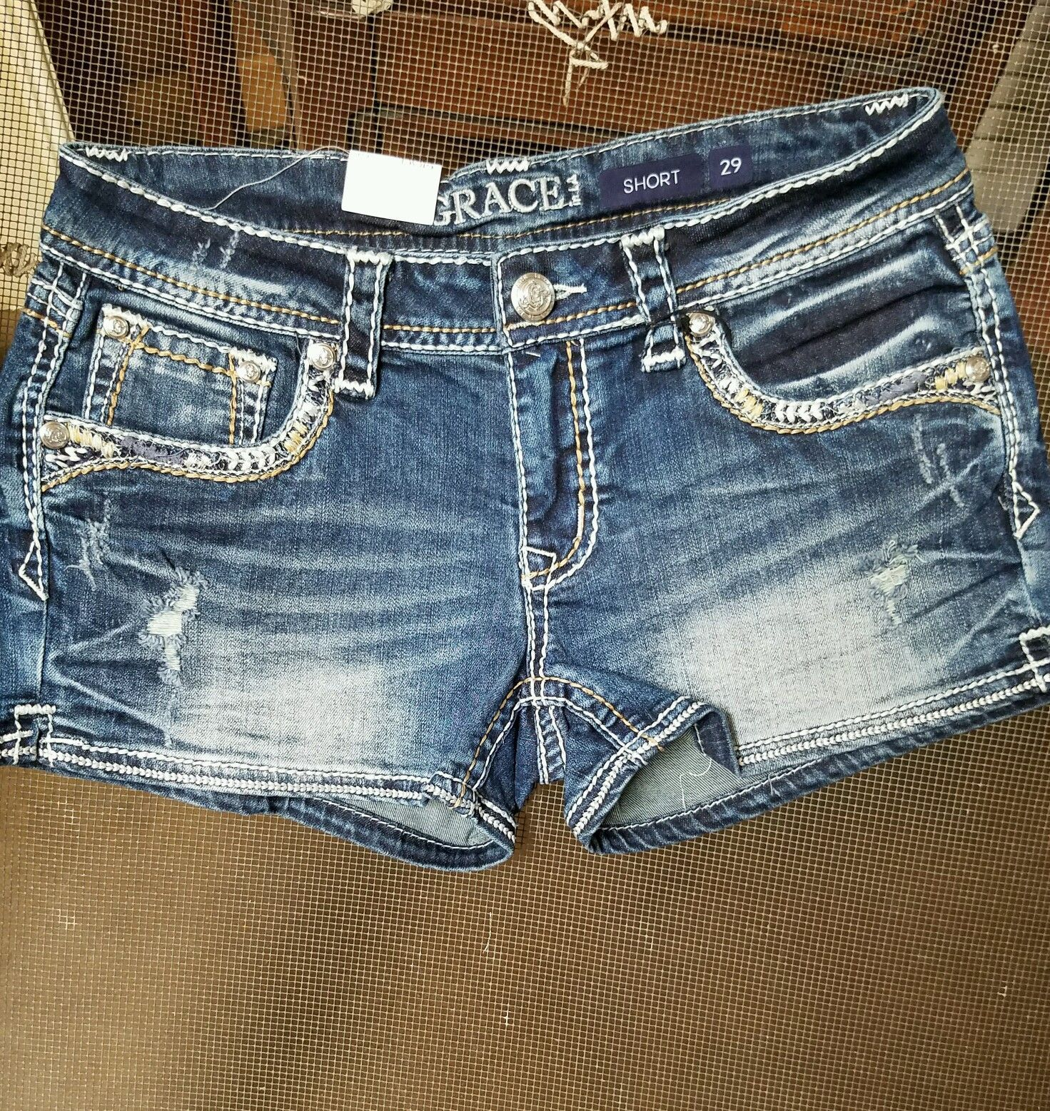 GC-3177 Girls Easy Fit Embellished Denim Shorts