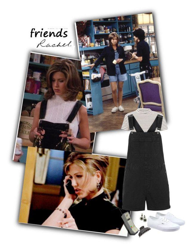 """Rachel Green Friends"" by priscilla12 ❤ liked on Polyvore featuring Rachel, Topshop, Vans, Alexandre de Paris, friends, overalls, TV and rachelgreen"