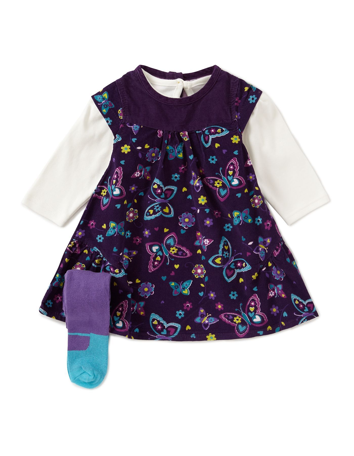 Butterfly Corduroy Dress Set Baby George at ASDA