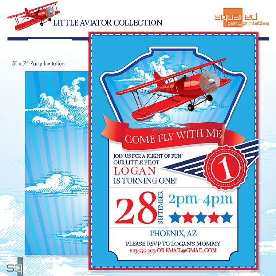 LIttle Aviator Printable Birthday Party Invitation Red and Blue