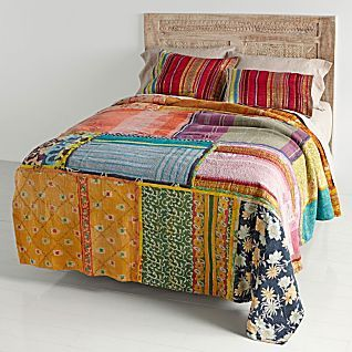 Vintage Kantha Quilt with Red & Gold Shams from NatGeo Store ... : kantha quilts for sale - Adamdwight.com