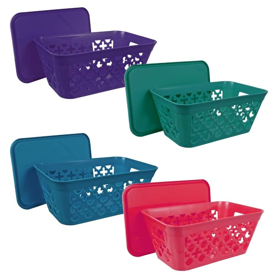 Essentials Rectangular Slotted Plastic Baskets With Handles And Lids 10 25x6 375x4 25 In Plastic Baskets Plastic Organizer Plastic Basket With Handle