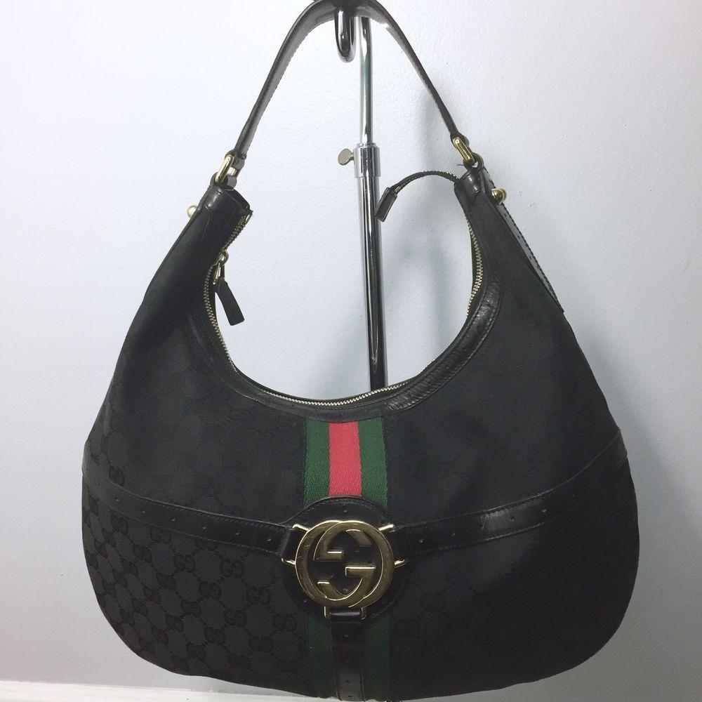 765fb69a74ca03 Gucci Vintage Boston Bag Brown Leather Red Green Web Stripe Shoulder Handbag