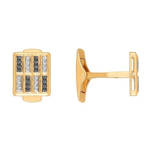 585 rose gold cufflinks with 48 Cubic Zirconia clear and black