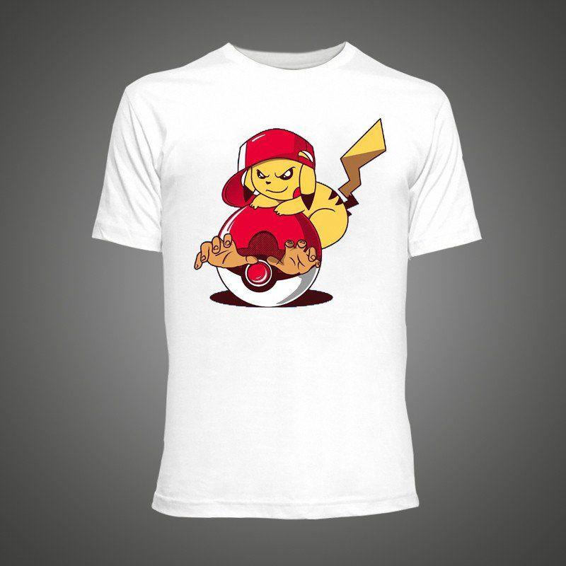 9dc8e14c1b T Shirt Pokemon Pikachu Goes Crazy anime Cartoon Printed Funny Hipster