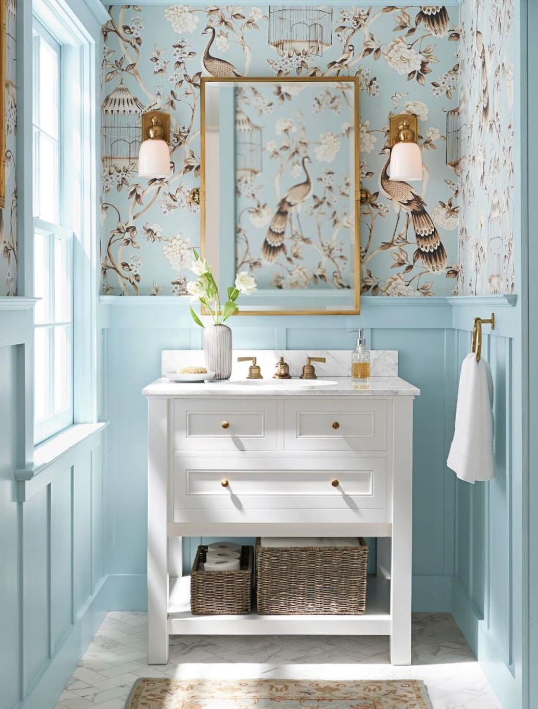 Papier peint oiseau paon - salle de bain bleu ciel - bleu ...
