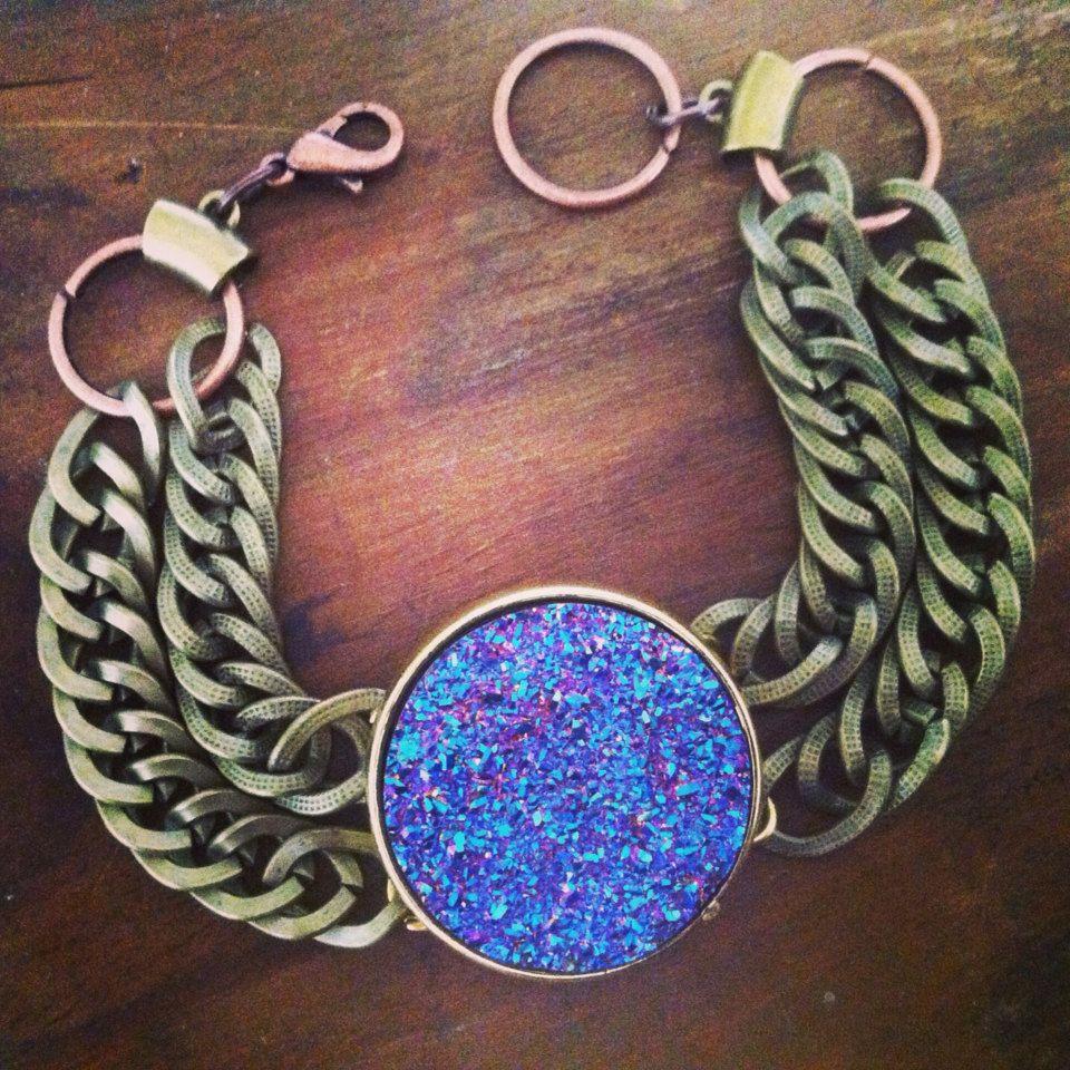 Blue Druzy Bracelet Rainbow Druzy Bracelet Chain by francisfrank, $25.00