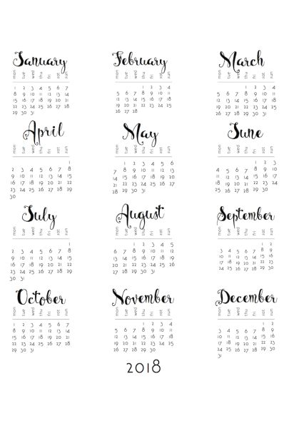 2018 Monday to Sunday One-sheet CRAFTS  Albums/Calendar/Journal