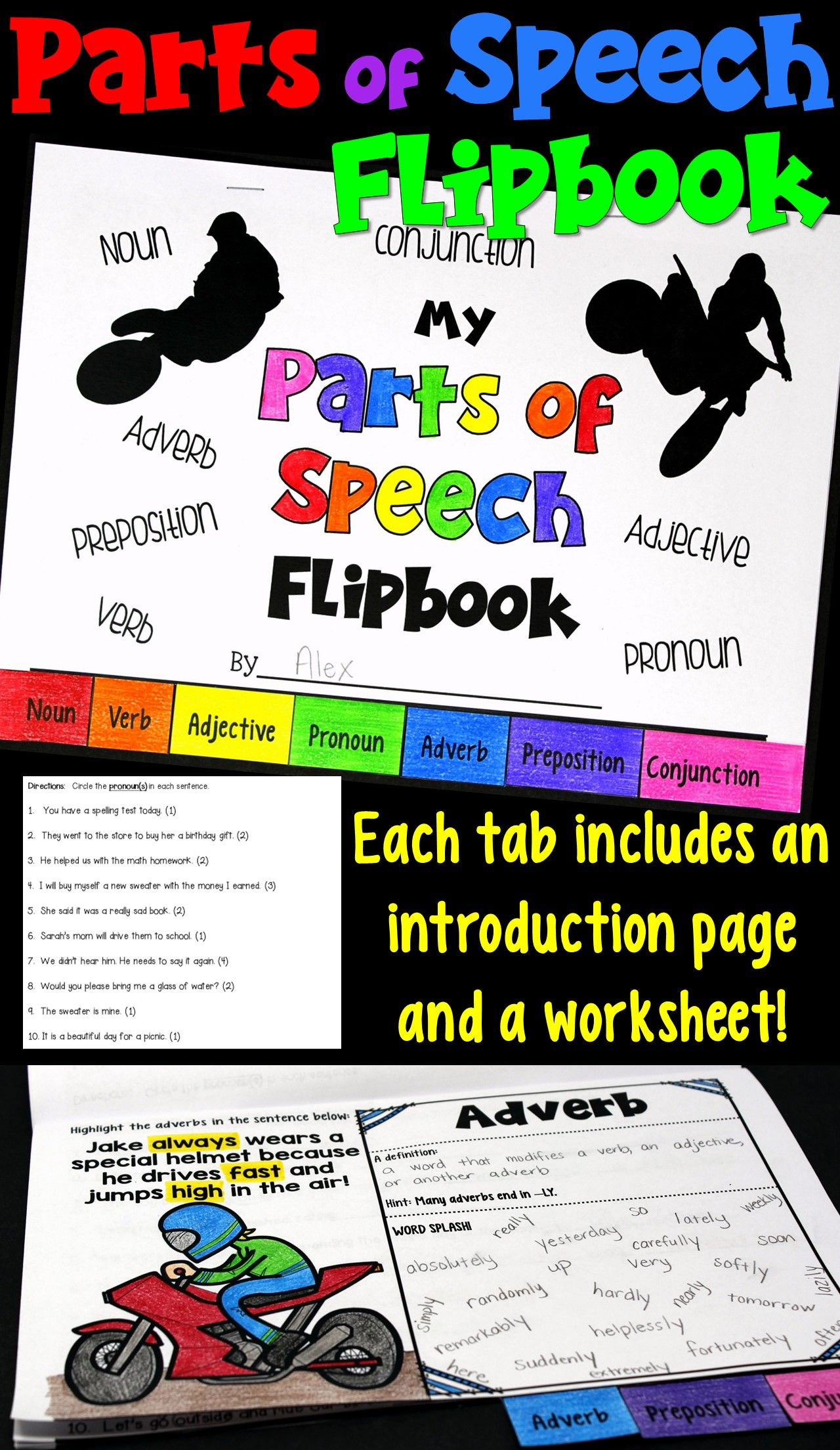 Parts Of Speech Flipbook Includes A Practice Worksheet
