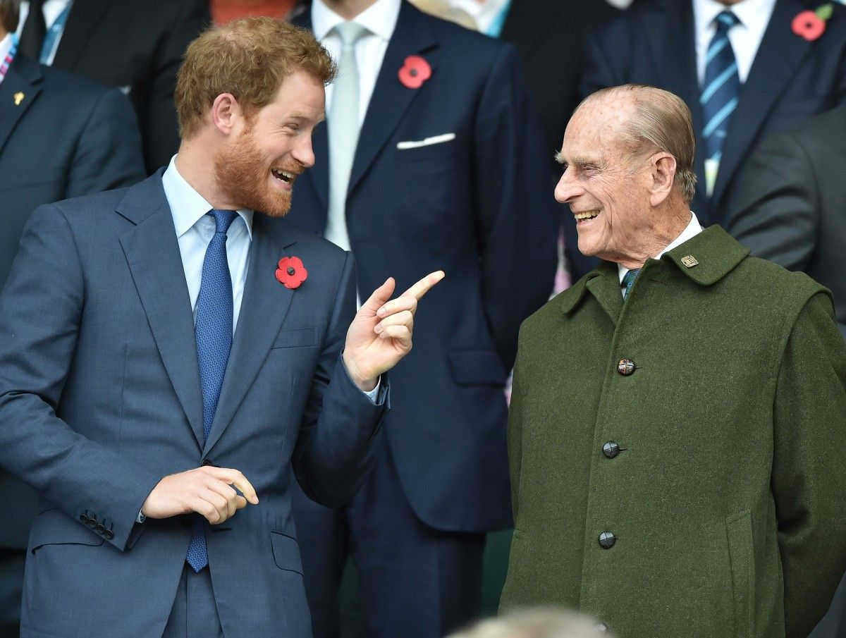 Harry watched the game with grandfather Prince Philip and brother Prince William.