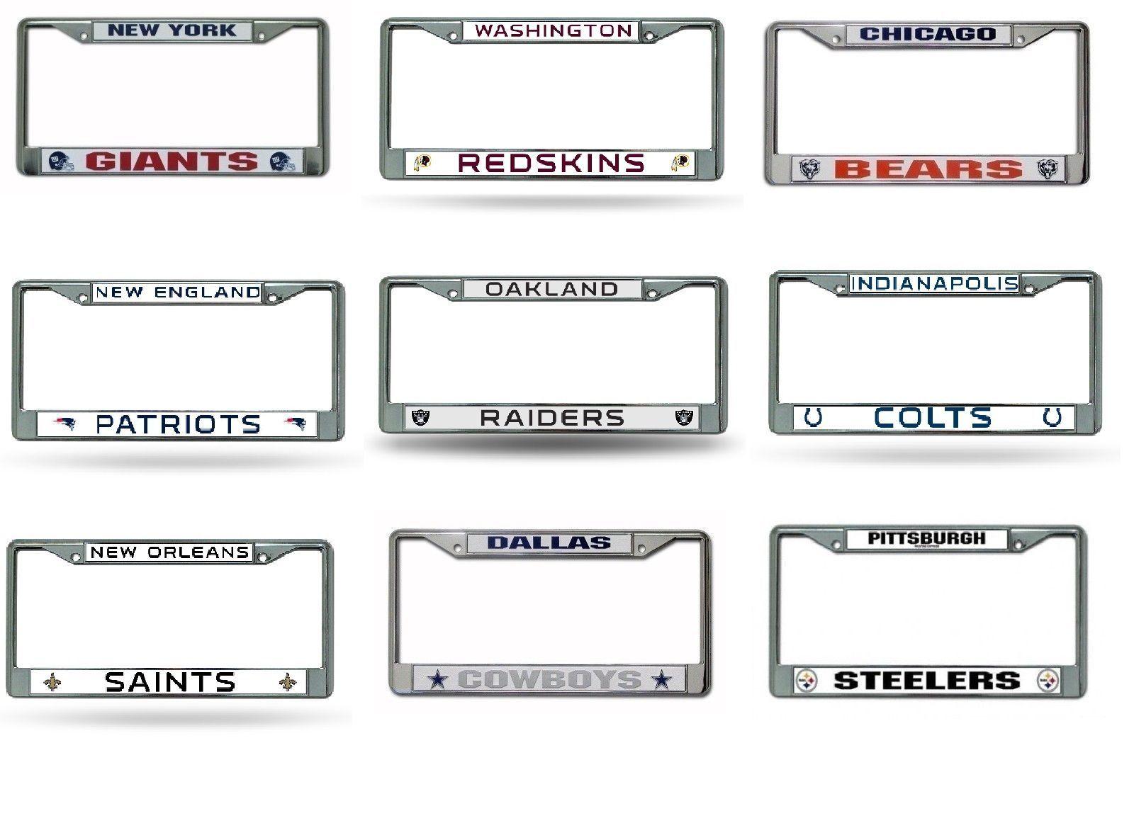 NFL Teams Chrome Metal Laser Cut License Plate Frame New ...