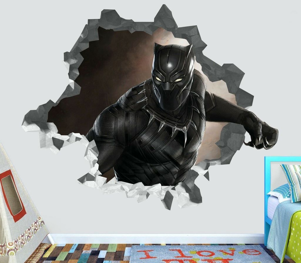 Black Panther Custom Wall Decals 3D Wall Stickers Art - ORP44 - Giant Size: Wide 48\ x 44\ Height