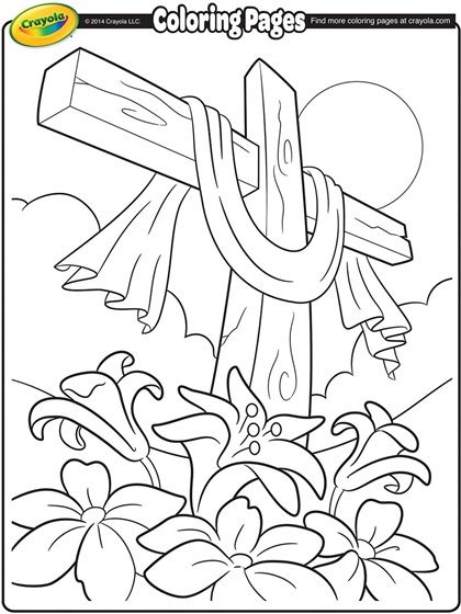 Easter Cross Coloring Page Worship2 Color