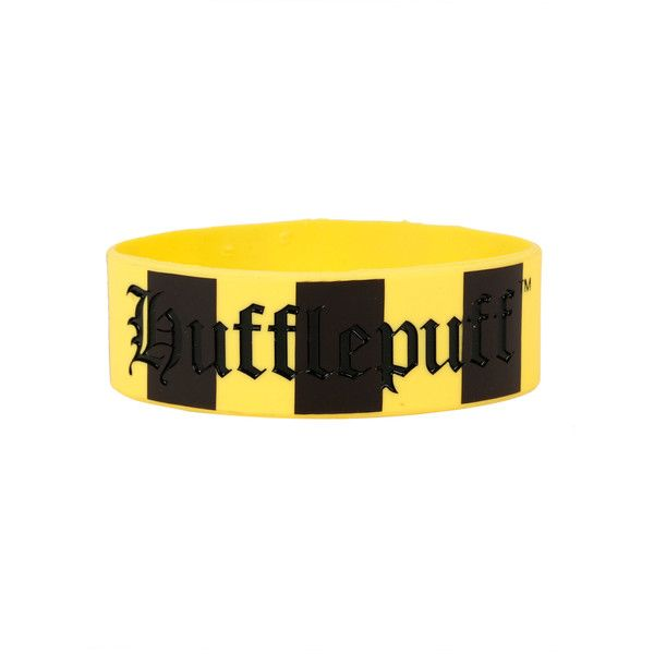 WB Harry Potter Hufflepuff Rubber Bracelet (€4,39) ❤ liked on Polyvore featuring jewelry, bracelets, harry potter, rubber bracelet, black, rubber bangles, warner bros. and rubber jewelry