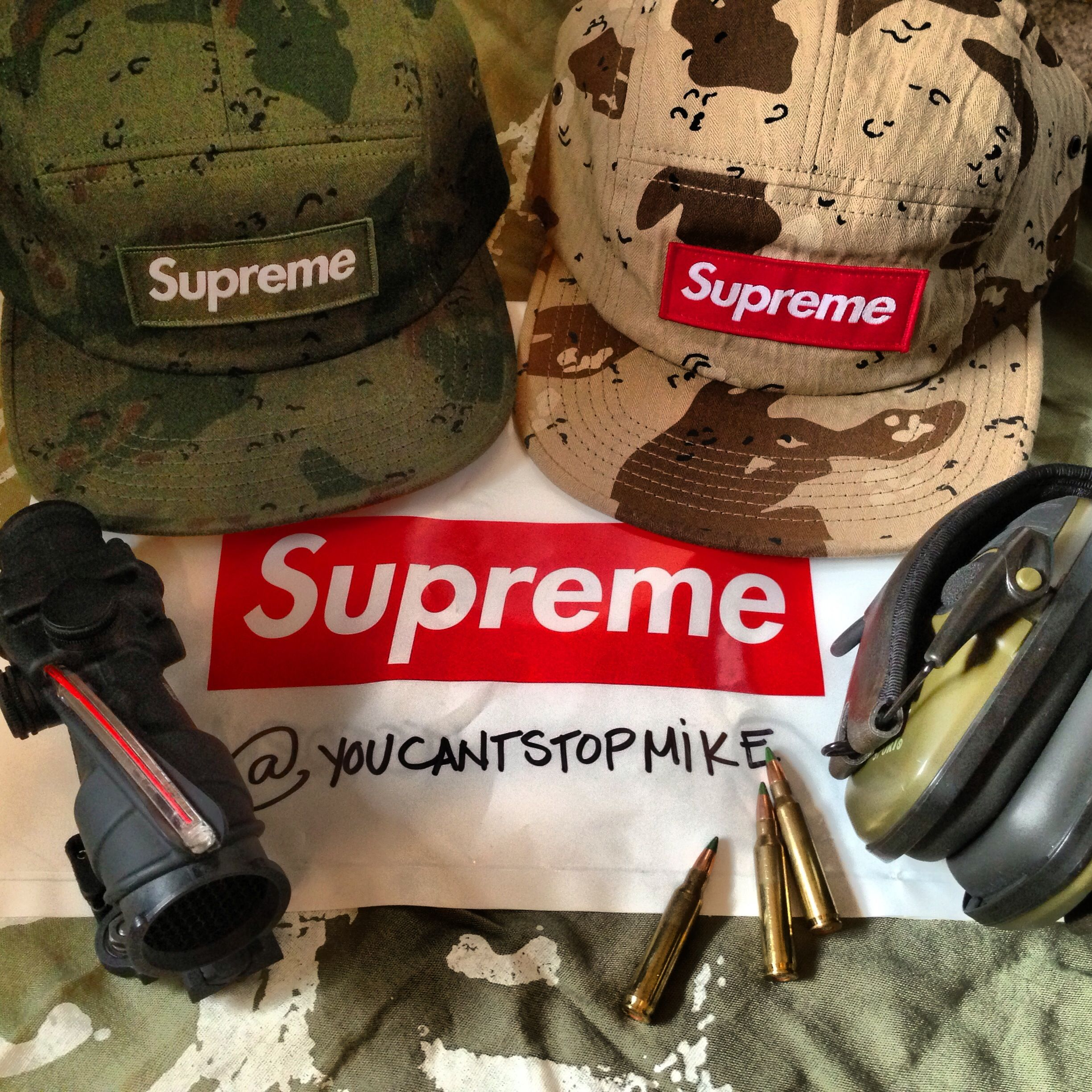 384317c4dd0 Supreme Chocolate Chip Camo Camp Hats in olive drab and dessert brown color  way. Picture also includes a Trijicon Acog TA31f red chevron BAC scope.