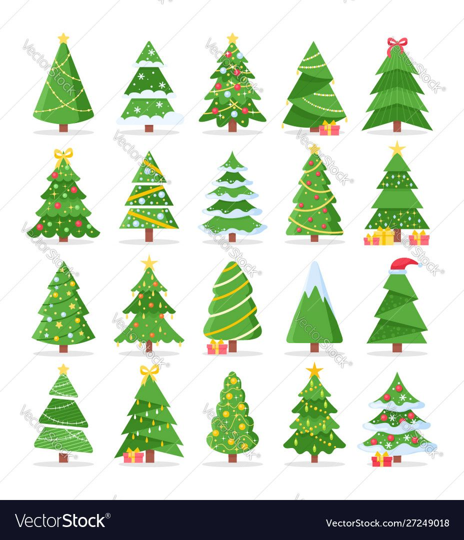 Vector Set Of Cartoon Christmas Trees Pines For Greeting Card Invitation Banner Web New Years And Xmas Tra In 2020 Cartoon Christmas Tree Cactus Vector Vector Free