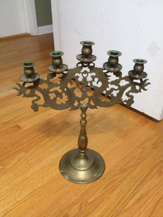 Dragon 5 Candle Candelabra Brass Large Antique Chinese Possible Judaica RARE | eBay