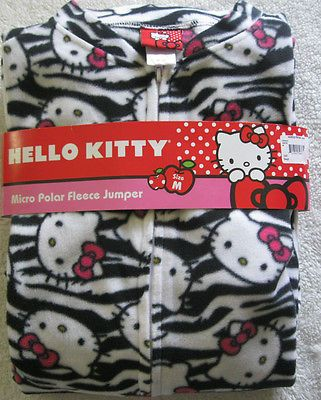 NWT Sanrio Hello Kitty Micro Polar Fleece Footed PJ Jumper Onesize M Black White https://t.co/E9LeF4ajuY https://t.co/1Eb4FrP7Pa
